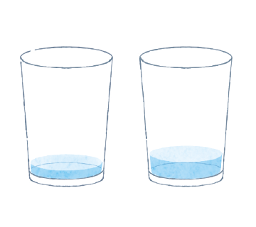 ① コップに25~50mlの水を入れます。